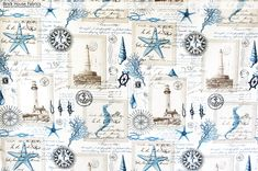 Nautical lighthouse fabric vintage postcard French writing - A lighthouse fabric. A nautical lighthouse keeper's fabric with vintage French postcards. There are also, starfish, seahorses, coral, knots, and compass roses. One can almost smell the salt air!  #coral #sea #horse #seahorse #vintage #french #postcard #nautical #lighthouse #fabric #upholstery #sewing #beach #ocean #coastal #cottage #compass #decor #home #decorating #homedec #homedecor #diy #starfish #star #fish