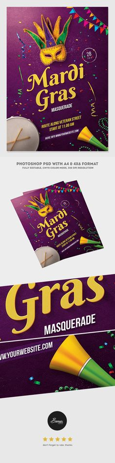 Mardi Gras Masquerade Flyer is flyer template for Photoshop, perfect to promote your next Mardi Gras masquerade carnival or party. Available in 2 formats, A4 & 4×6 flyer with bleed in each side. Editable & very easy to use, all text are editable, & only free fonts used. Download psd file here https://graphicriver.net/item/mardi-gras-masquerade-flyer/19448742?ref=bornx #graphicriver #envato #flyer #poster #flyertemplate #ads #advertising #creative #ideas #mardigras #mardigras2017 #carnival