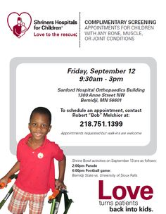 Shriners Hospitals — Bemidji, MN - free screening clinic for children with bone, muscle or joint problems.