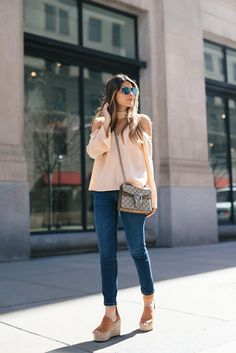 Summer Fashion Outfits, Spring Outfits, Casual Outfits, Cute Outfits, Casual Clothes, Fashion Bags, Women's Fashion, Black Wedges Outfit, Casual Chic