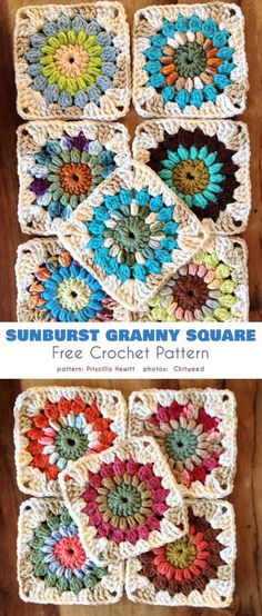 Sunburst Granny Square Free Crochet Pattern This blanket or throw is a radical departure from traditional crocheting designs. Its wavy texture is a veritable playground for colors, and the loud pattern Granny Square Pattern Free, Granny Square Häkelanleitung, Crochet Motifs, Granny Square Crochet Pattern, Crochet Blocks, Crochet Squares, Crochet Blanket Patterns, Free Crochet, Knitting Patterns