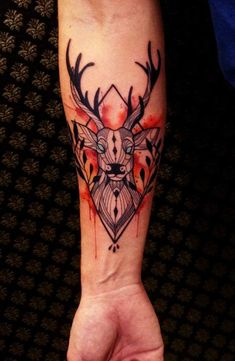 4ea0f8e7f Watercolor + Deer Tattoo by beststyle on DeviantArt Deer Skull Tattoos,  Stag Tattoo, Calf
