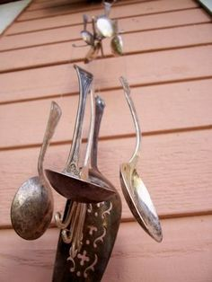 Flatware Wind Chime - Saw one tonight while I was out walking.  A good spring break idea!  I will be making one!