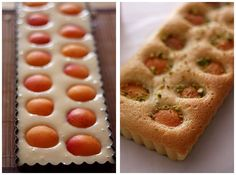 Light apricot cake before and after shots. Beautiful.