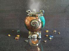 essential oils burner Leaky Cauldron - ceramic aromatherapy diffuser - witchcraft supply - halloween decor (50.00 EUR) by FedericoBecchettiArt