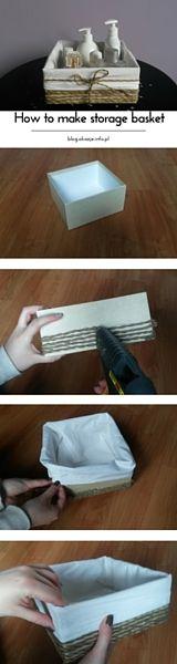 Make a beautiful storage basket from cardboard box.  Supplies: hot glue gun, string, fabric, cardboard box, needle and thread.