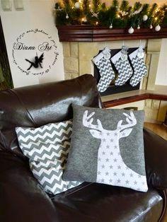 christmas, decoration, pillows, reeider