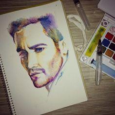 Jake Gyllenhaal Watercolor on paper