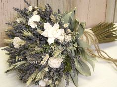 wheat bouquets weddings | ... Flowers, Wheat, Sola Flower Bridal Bouquet with Burlap, Jute Twine