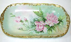 Magnificent Antique Vintage T & V Limoges France Roses China Tray Signed