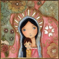 Madonna of the Flowers by Flor Larios Art Print