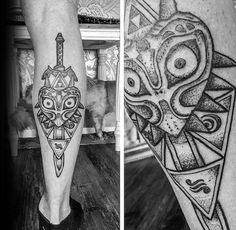 Discover an eerie gaze, rainbow spikes, and vibrantly colored details with the top 50 best Majora's Mask tattoo designs for men. Nintendo Tattoo, Gaming Tattoo, Legend Of Zelda Tattoos, Dream Tattoos, Future Tattoos, Tatoos, Halo Tattoo, Tattoo Ink, Majora Mask