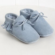 Fringed Faux Fur Suede Pram Shoes | The White Company