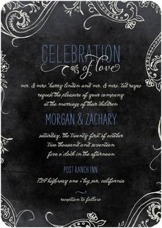Chalk Celebration - Signature White Wedding Invitations - Lady Jae - Bay - Green : Front