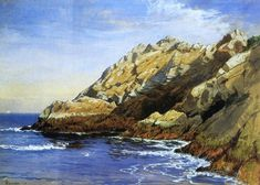 'Cliffs, Dana's Island', Watercolour by Alfred Thompson Bricher (1837-1908, United States)