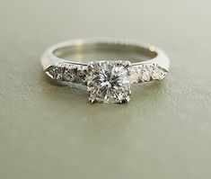 vintage platium engagement rings | Vintage Platinum Diamond Engagement Ring