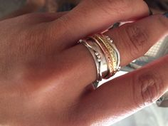 Sterling silver ring with brass and copper by ChrisRoseBijoux