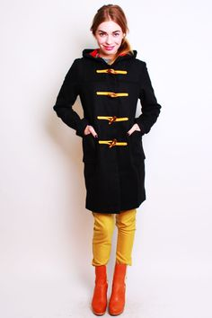 Gloverall | Gloverall Fit and Flare Wool Duffle Coat with Hood at