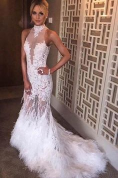 43a6cf515c8ee5 White Halter Mermaid Lace Sweep Train Prom Dresses With Feather