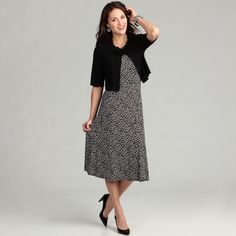 @Overstock - Stylish Jessica Howard dresses are feminine and flattering. Cover this sleeveless dress with the included black cardigan for a modest look, or wear it alone for a night out with your girlfriends. The polka-dot pattern is classic yet fun.http://www.overstock.com/Clothing-Shoes/Jessica-Howard-Womens-Black-Ivory-2-piece-Dress/6641801/product.html?CID=214117 $75.59