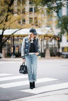Weekend Wear: Puffer Bomber Jacket + Boyfriend Jeans   bows & sequins