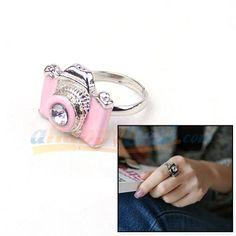 Little Camera Rhinestone ring