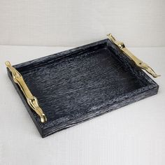 KELLY WEARSTLER | QUATRAIN SMALL FIGURAL TRAY. Cerused wood with rich bronze details