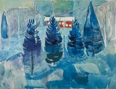 Edvard Munch (1863-1944), Red House and Spruces, 1927. 100 x 130 cm