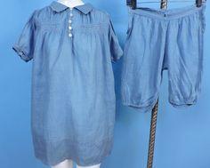 1920'S CHILD'S TWO PC BLUE CHAMBRAY DRESS SET W HAND SMOCKING AND ORIGINAL LABEL | eBay