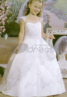 balle robe de satin parole longueur plafonné à Robe de Cortège Fille