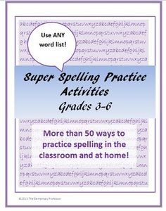 Upper grade spelling activities to use with any spelling list