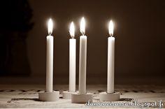 Kynttiläjalka kipsistä Homemade Christmas, Candles, Pillar Candles, Lights, Candle
