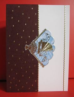 Handmade Card Any Occasion with Blue Oriental Fan