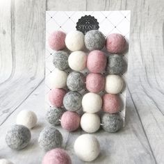 Felt Ball Pom Pom Garland Stone and Co Felt Ball Pom Garland Dusty Pink, Natural Grey and White. Perfect for baby showers, nursery, selfies. Ethical and Fair Trade. Hanging Garland, Felt Ball Garland, Pom Pom Garland, Pink Bedroom Design, Pink Bedroom For Girls, Pink Bedrooms, Garland Nursery, Nursery Decor, Nursery Ideas