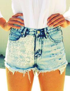 Lace Studded  High Waisted Denim Shorts