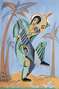 Natalia Goncharova - Goncharova's design for St John. Part of a commission by Diaghilev for the ballet The Liturgy