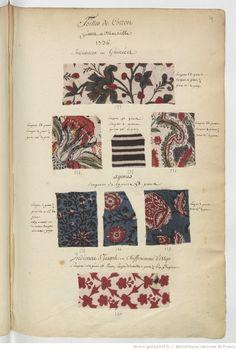 Toilles de Cotton // peintes à Marseille // 1736 : [échantillons de tissus] | Gallica