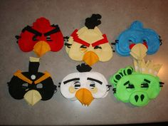 SET of 6 Angry Birds Inspired Felt Masks - Halloween, Pretend Play, Birthday Parties - Fits Child to Adult - All Stitched - No Glue