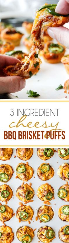 3 Ingredient Cheesy BBQ Brisket Puffs are the perfect, stress free, easy party food that no one will be able to stop munching!   the easiest  tastiest appetizer or snack!