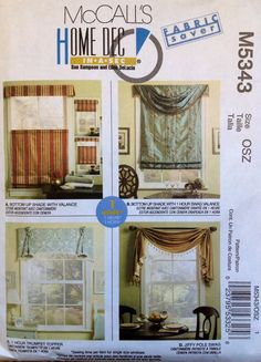 McCall's M5343 UNCUT One Hour Valances by Lonestarblondie on Etsy
