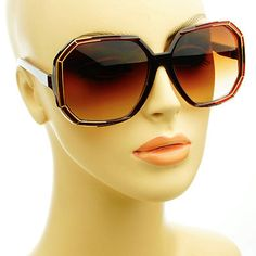 Glam Womens Retro Vintage Style Large Square Oversized Sunglasses Brown Gold
