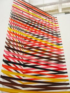 "Simplicity and beauty a wonderful combination.    ""Rebecca Ward makes beautifully complex art installations out of simple household objects: these colorful and geometric pieces are entirely made from duct tape or electrical tape."""