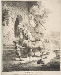 The Good Samaritan Rembrandt (Rembrandt van Rijn)  (Dutch, Leiden 1606–1669 Amsterdam) Date: 1633 Medium: Etching; fourth state of four Dimensions: image: 10 1/4 x 8 1/4 in. (26 x 21 cm) Classification: Prints Credit Line: Gift of Felix M. Warburg and his family, 1941 Accession Number: 41.1.54