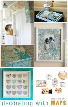 Vintage map #giveaway! Decorating with Maps - from @Cheryl Sousan | Tidymom.net