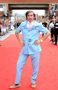 A vision in sky blue: Steve Coogan as his alter-ego Alan Partridge at the world premiere of Alpha Papa in Norwich on Wednesday Beautiful Men, Beautiful People, Alan Partridge, Comedy Actors, Uk Tv, You Had One Job, Christopher Robin, Comedians, Film Festival