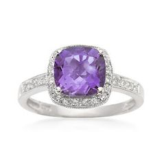 $446 Elegance is re-defined in this classic 2.05 carat amethyst ring. You don't have to have a February birthday to admire the handsome cushion-cut stone and the diamond frame. Our amethyst ring is set in 14kt white gold. Free shipping & easy 30-day returns. Fabulous jewelry. Great prices. Since 1952.
