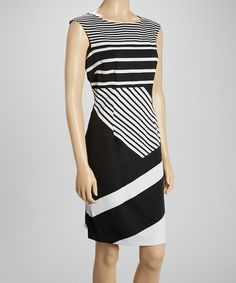 Look at this #zulilyfind! Black & White Stripe Sheath Dress by Voir Voir #zulilyfinds