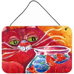 Caroline's Treasures Big Red Cat At the Fishbowl by Coe Steinwart Painting Print Plaque