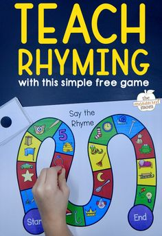 "Try this free rhyming game to help rhyming ""click!"" by Anna G Teach your learners to rhyme with this simple free rhyming game! Rhyming Preschool, Rhyming Activities, Kindergarten Literacy, Early Literacy, Phonics Games, Emergent Literacy, Jolly Phonics, Montessori Elementary, Preschool Printables"