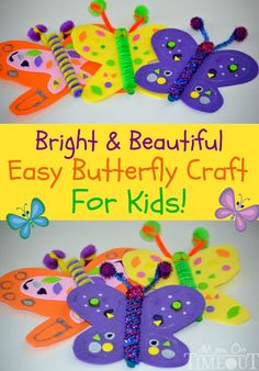 Bright and beautiful butterfly crafts for kids! Let your kids create their own colorful butterflies using simple craft supplies. This is a great craft idea during summer break! crafts foam Bright and Beautiful Butterfly Craft Easy Crafts For Kids, Summer Crafts, Toddler Crafts, Art For Kids, Diy And Crafts, Arts And Crafts, Baby Crafts, Kids Diy, Craft Activities